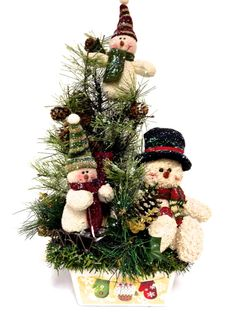 NEW Snowman Family Winter Holiday Christmas Table Arrangement Centerpiece Black Red, Green & Ivory (16H x 10W)  FREE SHIPPING! I ship same