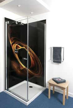 Fire ring printed abstract on black photo wall art glass shower enclosures