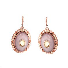 qvc Rosetone Simulated Opals Faceted Oval Lever Back Earrings 331M #DiamantJewels #DropDangle