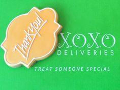 Celebrate life's moments. Personalize our artisan decorate cookies for every occasion. XOXO Deliveries Thank you Cookie Collection.  See our website to order these beautiful cookies. XOXO Deliveries features artisan decorated cookies for all of life's special  moments.