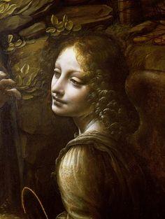 Leonardo da Vinci - detail of the angel from the paint Virgin of the rocks
