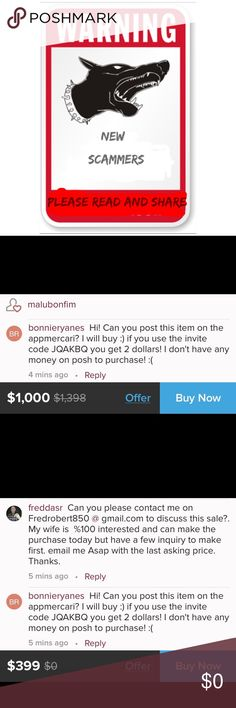 😤 BEWARE NEW SCAMMER ALERT ⚠️ Our posh scammers are relentless and trying to be crafty. They are trying everything to pull us away from the posh app to either make an off line sale or get you to an Unsecure site to scam you. Please BEWARE, NEVER GIVE OUT YOUR PERSONAL INFORMATION or do an off line purchase. They promise you a certified check before they receive your item. These checks are counterfeit. You will lose your item and be in debt with the bank. Take note 📝 of the two messages…