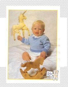 DK - V Neck Sweater in 3 sizes by Patons in Sizes: cm - 22 ins) - PDF Knitting Pattern - Baby Cardigan Knitting Pattern, Baby Knitting Patterns, Baby Patterns, Vintage Patterns, Crochet Patterns, Easy Knitting, Knitting For Beginners, Knitting Magazine, Vintage Knitting