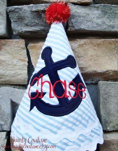 Boys Birthday Party Hat  Nautical Theme blue by DaintyCouture, $26.00
