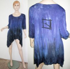 ART OF CLOTH Stretch Rayon Draped Tie Dye Purple Lagenlook Asymmetric Tunic L
