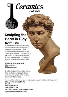 Based in Glasgow? Check out this clay portraiture class on the Pottery Courses, Ceramic Studio, Glasgow, Sculpting, Clay, Ceramics, Building, Check, Artist
