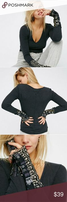 SALEFree People Art School Thermal cuffs Long sleeve tee with a lived-in look and a relaxed feel. Features uniquely printed bohemian sleeve cuffs with decorative buttons. V-neckline and easy, rounded hem. So comfy and stretchy fabrication. Bust: 27 in Waist: 24 in Length: 24.5 in Sleeve Length: 26.75 in Henley Free People Tops Tees - Long Sleeve