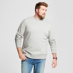 Men's Big & Tall Fleece Crew Neck Sweatshirt - Goodfellow & Co Gray 4XBT