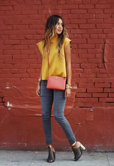 Gray Skinnies And Yellow Top 2017 Street Style