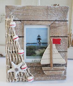 Nautical Wood x Picture Frame - Sailboat Decor - Coastal Photo Frame - California Seashell Company Seashell Crafts, Beach Crafts, Diy And Crafts, Seashell Frame, Seashell Art, Nautical Pictures, Sailboat Decor, Nautical Home, Nautical Design