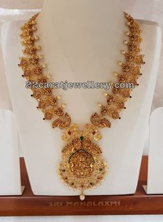Dull Finsh Peacock Necklace by Malahalaxmi Jewellers