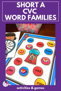 Recognizing word chunks is an important reading skill. This worksheet free unit of activities for short A word families is something that can help teach these chunks.  Included are activities like sorting, games, puzzles, and more. It's perfect for kindergarten or first grade ELA centers or stations . Words are mostly CVC words but a few CCVC words are included. Click to see these fun phonics activities. {first grade phonics, kindergarten phonics, 1st grade} Short A Activities, Fun Phonics Activities, Word Family Activities, Cvc Word Families, First Grade Phonics, Kindergarten Phonics, Short I Words, Sorting Games, Guided Reading Lessons