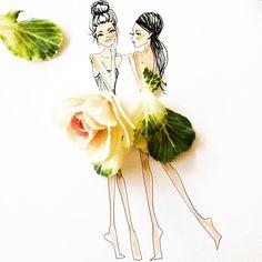 .  cabbage patch kidz . #SomeFlowerGirls #CabbageFlower #Couture #FashionIllustration