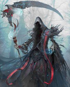 The Death by yakun wang Concept artist in Tencent Games Dark Fantasy Art, Fantasy Artwork, Fantasy Character Design, Character Concept, Character Art, Concept Art, Fantasy Monster, Monster Art, Illustration Fantasy
