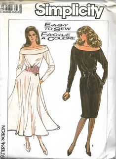 1980's Simplicity 8348 Misses Off-The-Shoulder Dress With Straight Or Circular Skirt Pattern, Size 12, UNCUT by DawnsDesignBoutique on Etsy