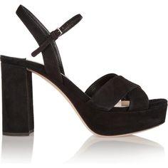 Miu Miu Suede Platform Sandals as seen on Dakota Johnson