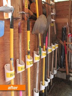 built holders from PVC pipe scraps to hold the garden tools in a neat and orderly fashion. I so wanna do this!