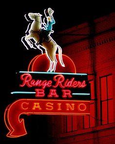 range riders bar casino western vintage neon sign