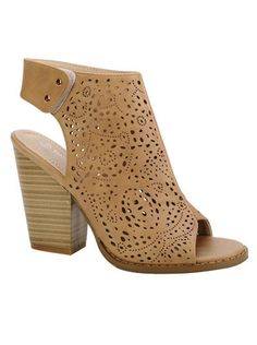 e9b64a2aabe690 Laser Cut Peep Toe Faux Leather Ankle Booties with Stacked Heel-Beige