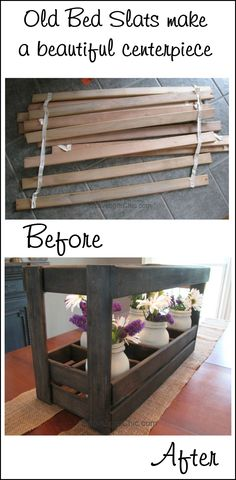 old-bed-slats-make-a-beautiful-centerpiece-scavenger-chic-for-myrepurposedlife-com Make this easy wooden caddy for mason jars out of bed slats or pallet wood. This step by step tutorial will show you how to have this on your table today! Ikea Bed Slats, Wooden Bed Slats, Repurposed Furniture, Pallet Furniture, Pipe Furniture, Furniture Vintage, Furniture Redo, Furniture Design, Bed Slats Upcycle
