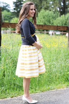 What a darling dress!! Add the sweater, belt and perfect pumps this is a total win!!  Cute Maternity Clothing