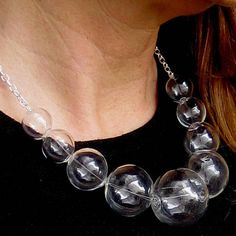 Glamorous Glass by Petra Glasova: Share my fascination with dreamy bubble glass jewellery. Clear glass bubble jewellery set containing a necklace, a bracelet and earrings. Glass Jewelry, Jewellery, Unique Jewelry, Necklace Designs, Petra, Fascinator, Clear Glass, Bubbles, Glamour