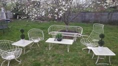 Homecrest-Patio-Lounge-Set-Sofa-Glider-3-Chairs-3-Tables-Cushions-Vintage