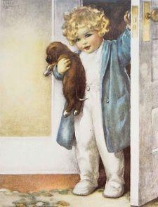 Good Morning - Illustration by Bessie Pease Gutmann Vintage Pictures, Vintage Images, Nursery Poem, Nursery Decor, Betty Boop, Bessie Pease Gutmann, Adventures In Wonderland, Vintage Postcards, Vintage Signs