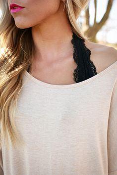 Halter Lace Bralette Midlength in Black