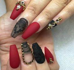 90 Mejores Imágenes De Uñas Rojas Y Negras En 2019 Acrylic Nails