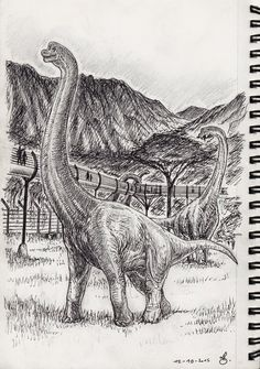 Inktober 12- Brachiosaurus walk at Jurassic World by SpinoJP.deviantart.com on @DeviantArt