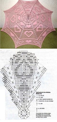 Valentine filet crochet parasol pattern chart