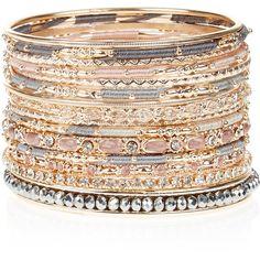 Accessorize 15 x Miya Multi Bangle Pack ($29) ❤ liked on Polyvore featuring jewelry, bracelets, beaded jewelry, beading jewelry, bead jewellery, hinged bangle and accessorize jewelry
