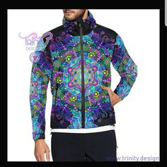 These windbreaker jackets are so warm and supoer vibrant 💯😎🌟 Windbreaker Jacket Mens, Hooded Jacket, Festival Outfits, Festival Clothing, Rave Clothing, Edm Outfits, Psychedelic, Trending Outfits, Stylish