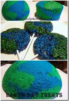 Earth/globe cupcakes!  I like to treat Earth day like a holiday!