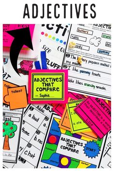 Teach students to use frequently occurring adjectives with this engaging hands-on resource. This bundle is full of activities including eight days of mini lessons, anchor charts, partner games, interactive notebook pages, task cards, a board game, and a quick assessment. This is a complete hands-on mini unit that will add fun and excitement to your classroom. #HollieGriffithTeaches #Adjectives #HandsOnLearning #KidsActivities