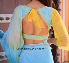 chiffon saree blouse designs 2019 Here are 25 latest Chiffon Saree Blouse Designs that are trendy and stylish. These latest blouse designs are suitable for all occasions Blouse Back Neck Designs, Sari Blouse Designs, Fancy Blouse Designs, Designer Blouse Patterns, Bridal Blouse Designs, Pattern Blouses For Sarees, Designer Saree Blouses, Latest Blouse Designs, Latest Blouse Patterns