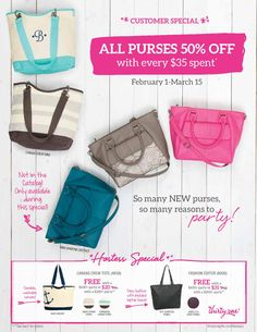 February 1st thru March 15th!  Spend $35, get a purse half off!  Even the new Jewell line!