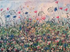 ARTFINDER: Wildflowers by Jane Morgan - This painting was inspired by soft colours of blue cornflowers, daisies, cow parsley and pink poppies. I used watercolour wash, then layered with gouache, ac...