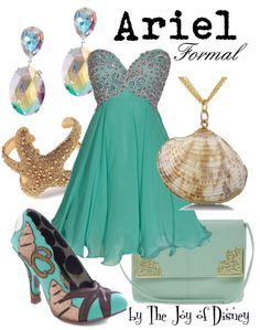 Buy Ariel's look:Dress, $159.99 ; Shoes, $89.99 ; Purse, $24.94 ; Necklace, $6.99 ; Starfish cuff, $24.99 ; Earrings, $13.30Formal outfit inspired by Ariel from The Little Mermaid!!I would loooove to wear this outfit someday :)