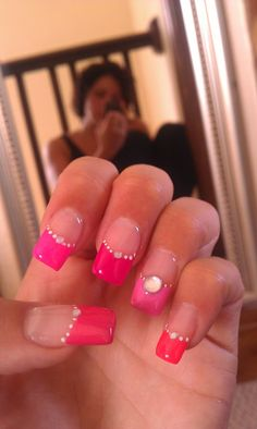 Acrylic Nails. Pink French Manicure. Gel Overlay.  Free Hand Nail Art. 50 Shades of Pink Theme. Diamantes.