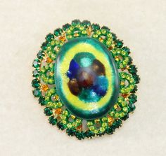 RARE Vintage D&E JULIANA French Limoges Green Rhinestone Brooch Book Piece! by Rhinestonedivas on Etsy