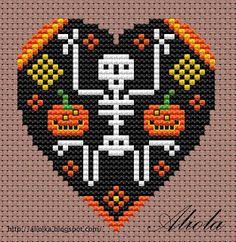 Beaded Heart PATTERN skeleton halloween pumpkin