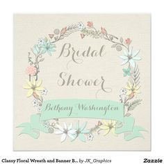 Classy Floral Wreath and Banner Bridal Shower
