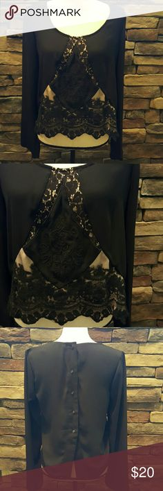 BKE Black Lace Blouse S Worn only one time and in excellent condition,  it has a scalloped hemline with a lace center. Button up back. From The Buckle.  No trades please. BKE Tops Blouses