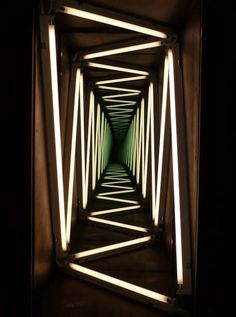 """I saw an exhibition by Ivan Navarro at the Towner gallery a couple of years ago and love the way he plays with light, perspective & mirrors """"IVAN NAVARRO : NARRATION THROUGH LIGHT"""" Perfect for a Haunted house or blacklight themed party! Neon Lighting, Lighting Design, Lighting Ideas, Unique Lighting, Light Luz, Collage Kunst, Instalation Art, Blacklight Party, Infinity Mirror"""