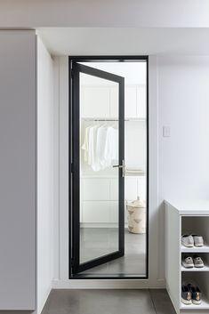 Stegbar's Alumiere Hinged Door at a home in Beaconsfield. Stacking Doors, Laundry Design, Door Price, Aluminium Doors, Protecting Your Home, Facades, Windows And Doors, Master Bathroom, Mid-century Modern