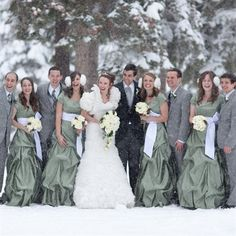 My winter wedding made TheKnot.com! Loved the earmuffs and sage green maxi bridesmaid dresses on my girls <3 The boys look pretty dapper with their sage green plaid neckties too!