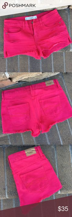 🌷Abercrombie pink denim shorts These shorts are in perfect condition, only worn twice. They are beautiful for the summer. The front has 3 subtle rips. Size 2 and fits true to size. They are more of a mid rise I would say. Total length = 10 inches. Inseam = 2 inches. Abercrombie & Fitch Shorts Jean Shorts