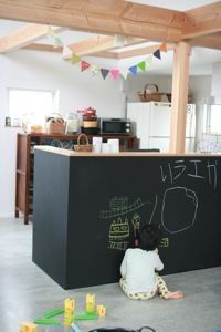 keep an eye on little ones with this kitchen cabinet Blackboard